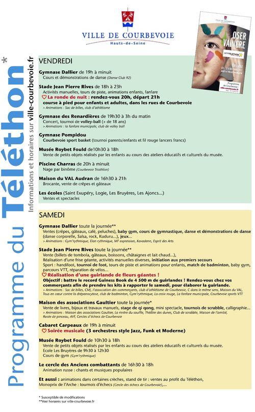 Programme Téléthon 2012 Courbevoie