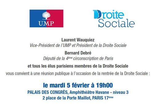 Réunion publique Droite Sociale 5 février 2013 au Palais des Congrès