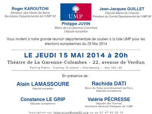 Invitation réunion départementale à La Garenne-Colombes du 15 mai 2014 à 20h