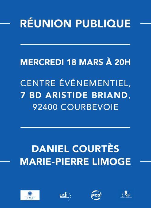 Réunion publique UMP Elections départementales 2015 Courbevoie 18 mars 2015 Daniel Courtès Marie-Pierre Limoge