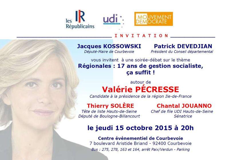 Invitation soirée débat Régionales Valérie Pécresse -  Courbevoie - Jeudi 15 octobre 2015