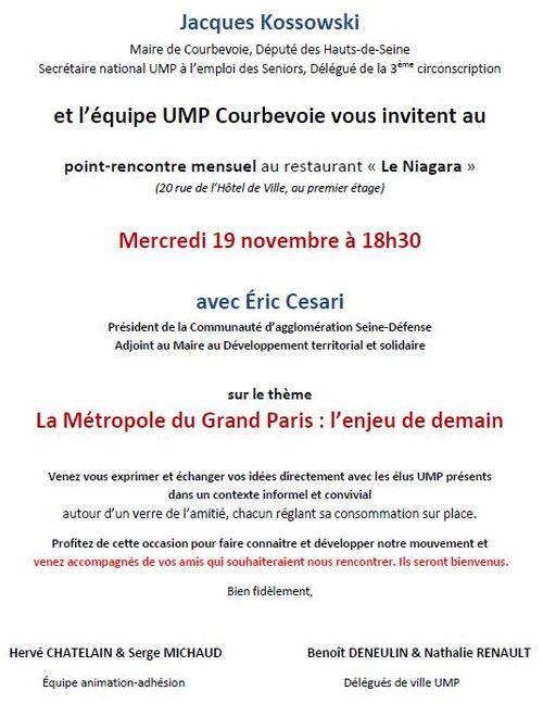 Point-rencontre UMP Courbevoie 19 novembre 2014 avec Eric Cesari - Métropole du Grand Paris