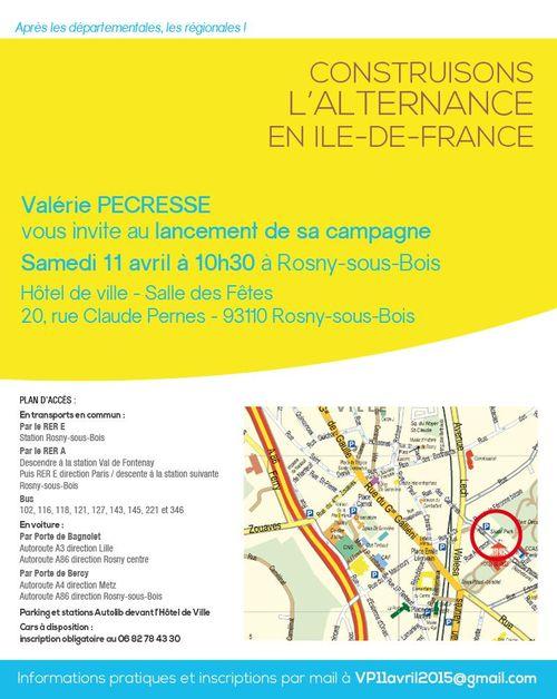 Lancement campagne Valérie Pécresse élections régionales 2015 samedi 11 avril Rosny-sous-Bois