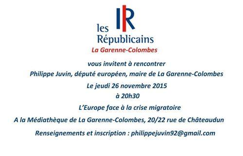 Invitation Philippe Juvin - 26 novembre 2015