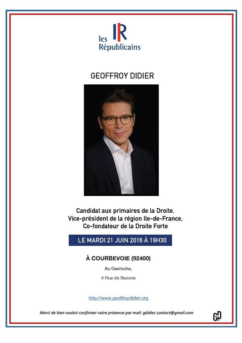 Invitation Geoffroy Didier - Mardi 21 juin 19h30