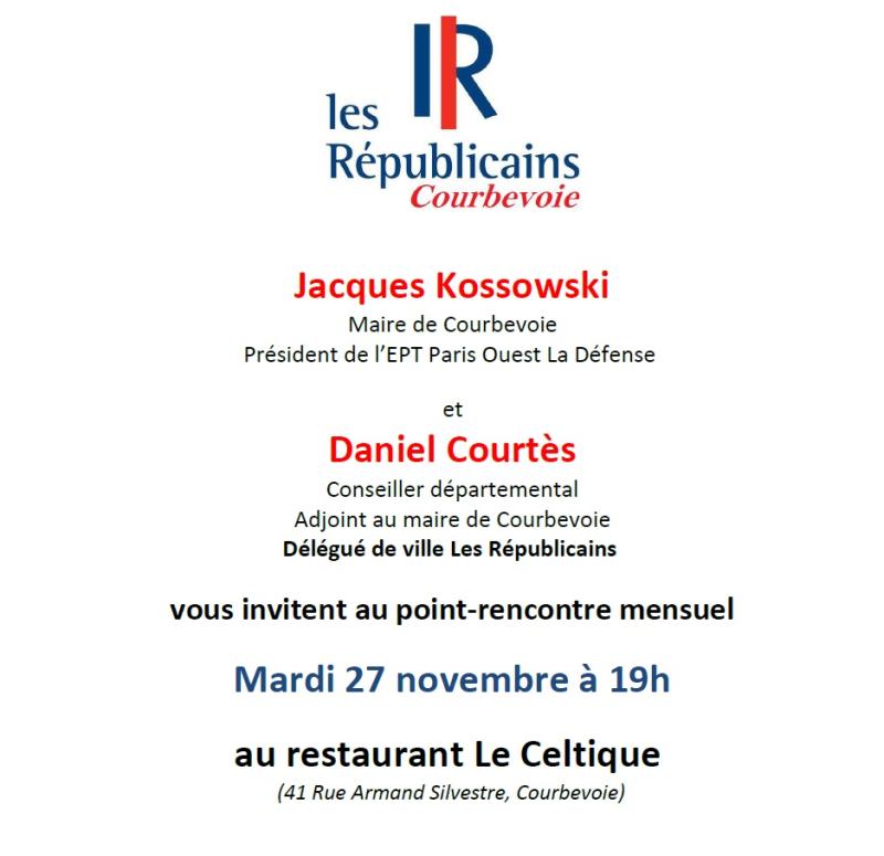 Invitation point-rencontre Les Républicains Courbevoie - 27-11-2018