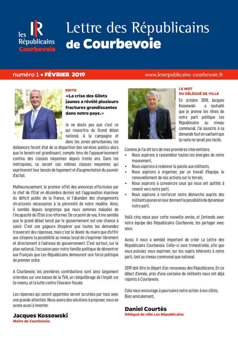 La Lettre des Républicains Courbevoie n1