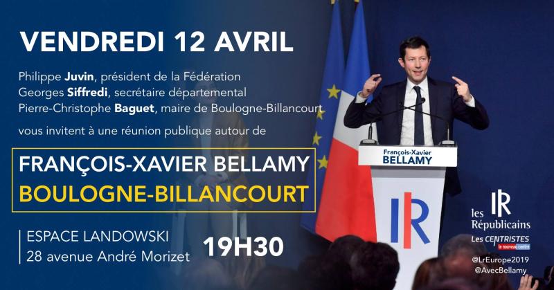 Meetting européennes FRançois Xavier Bellamy 12 avril 2019 Boulogne Billancourt